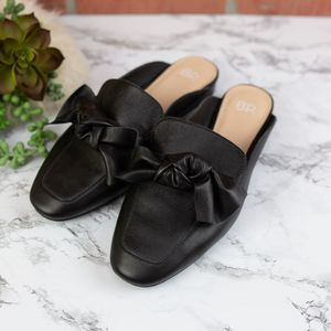 BP Black Leather Bow Slide Mules 7.5